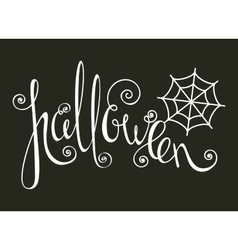Halloween inscription with spider web vector image