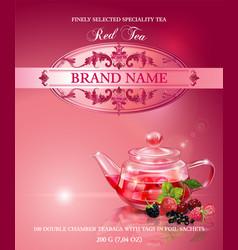 Red tea banner vector