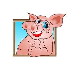 Funny pig vector