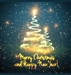 Shining christmas trees on blue vector
