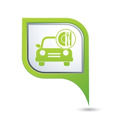 Car with fast food icon on green pointer vector