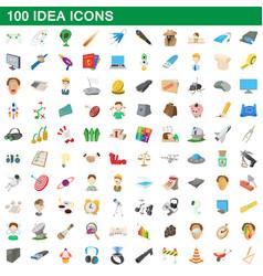 100 idea icons set cartoon style vector