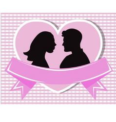 loving couple in a heart vector image
