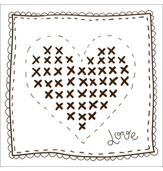 Handkerchief with embroidery heart vector