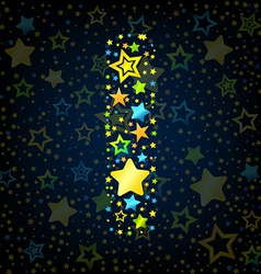 Letter i cartoon star colored vector