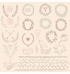 Set of floral design elements wedding set with vector