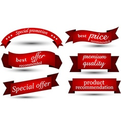 Set of red ribbons vector