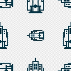 Skyscraper icon sign seamless pattern with vector