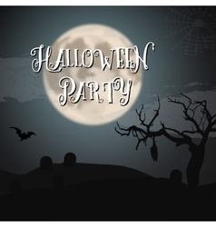 Scary halloween night poster with big moon bat vector