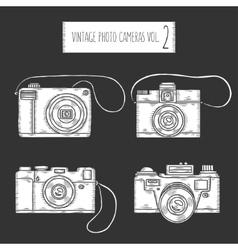 Hand drawn photo cameras set vintage vector image