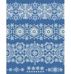 Snowflakes lace seamless borderwinter pattern vector