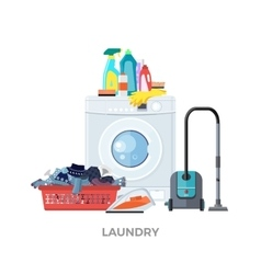 Laundry washing machine vacuum and detergents vector
