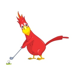 Funny parrot golf vector