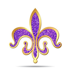 Golden and purple fleur-de-lis vector