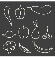Set of one line fruits and vegetables vector