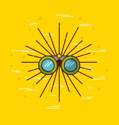 Binoculars over yellow background icon image vector