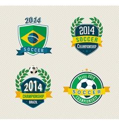 Brazil soccer vintage labels set vector