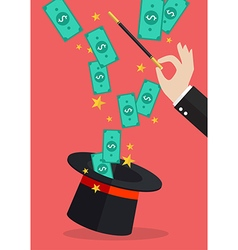 Business hand with money flying out of the magic vector image