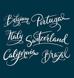 California and brazil hand written typography vector