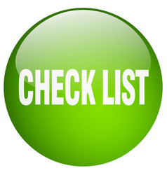 Check list green round gel isolated push button vector