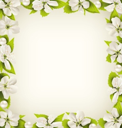 Cherry flowers with pearl beads like frame on vector image vector image