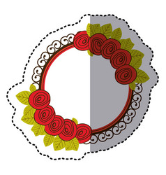 Color round emblem with roses icon vector