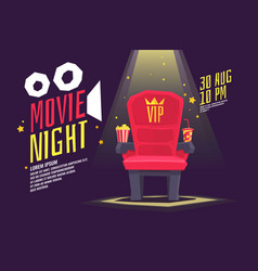 Colorful poster movie night with a projector vector