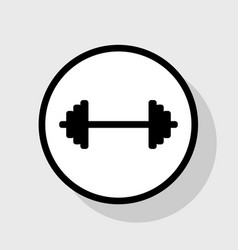 Dumbbell weights sign flat black icon in vector