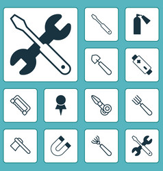 Equipment icons set with garden fork tomahawk vector