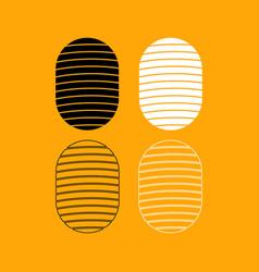 fingerprint set black and white icon vector image