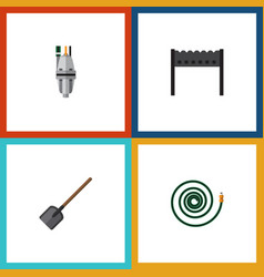 Flat icon garden set of shovel barbecue hosepipe vector