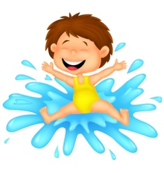 Girl cartoon jumping to the water vector image