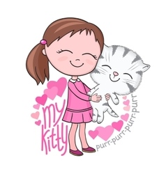Girl tenderly cuddles tabby kitten vector