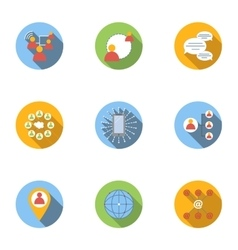 Global network icons set flat style vector