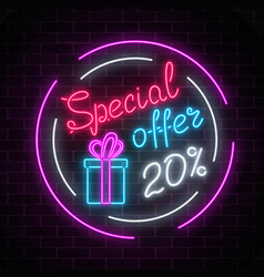 glowing neon banner of big sale sign on dark vector image