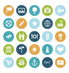 Icons plain circle travel vector