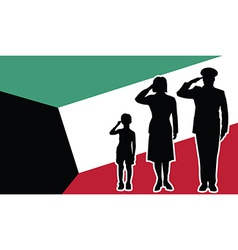 Kuwait soldier family salute vector