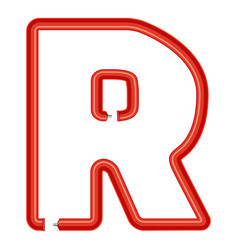 letter r plastic tube icon cartoon style vector image