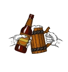 Mug of beer with foam and a brown bottle vector