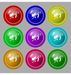 Mute speaker sign icon sound symbol set colourful vector