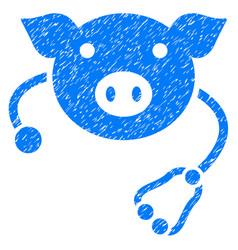 Pig veterinary icon grunge watermark vector