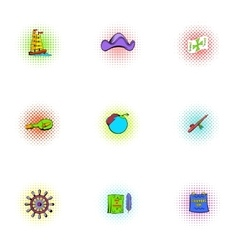 Pioneer icons set pop-art style vector