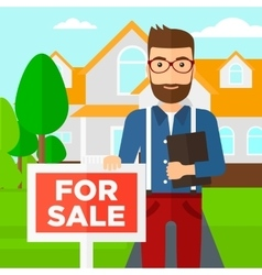 Real estate agent offering house vector