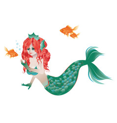 red haired mermaid vector image vector image