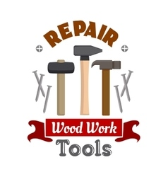 Repair hammers work tools emblem vector