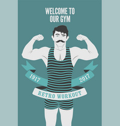retro gym poster design with strong man vector image