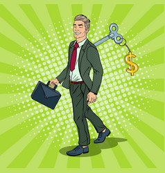 Robotic businessman with key of his back pop art vector