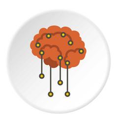 Sensors on human brain icon circle vector