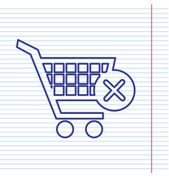 Shopping cart with delete sign navy line vector