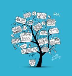 Vintage radio tree sketch for your design vector